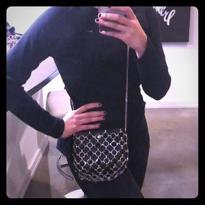 Zara Black Leather and Metal Chain Purse